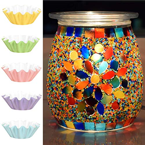Flippin' Happy Mosaic Glass Electric Wax Melt Warmer - Scented Wax Burner and Oil Fragrance Warmer for Living Room, Bedroom, Office, Home Decor Gifts - Unique Candle Melt Lamp (Magnolia)