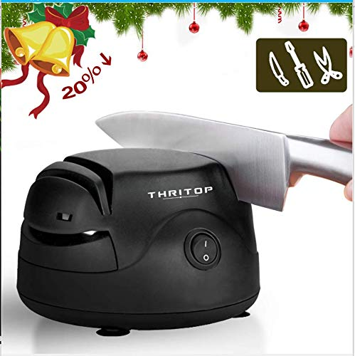 THRITOP Knife Sharpener Tool 3 in 1,Electric Sharpening Machine for Knives Scissors & Screwdrivers,40W, Black