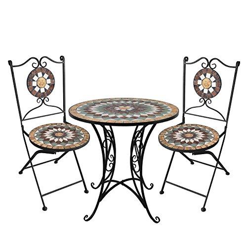 Wohaga® 3tlg. Mosaik Gartengarnitur Mosaiktisch Ø70cm + Klappstühle/Sitzgarnitur Sitzgruppe Gartenmöbel Balkonmöbel