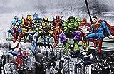 AvenellArt Marvel DC Superhéroes Impresión del Arte/Poster Almuerzo En La Parte Superior De Un Rascacielos Captain America Deadpool Hulk Flash Superman (A1 594x841 mm / 23.4x33.1)