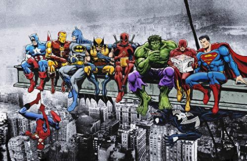 Marvel DC Superhéroes Reúnen Un Grattacielo - Stampa Artistica/Poster - Captain America Iron Man Batman Wolverine, Deadpool Hulk Flash Spider-Man Venom Superman (A0 841x1189 mm / 33.1x46.8)