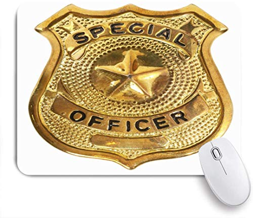 YOLIKA Gaming Mouse Pad,Special Officer Badge Golden Police Official Insignia Bronze Design,Non-Slip Rubber Base,Desk Mat for Office and Home,9.5 x 7.9in