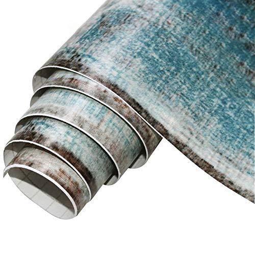 Freedomanoth Blau Holz Dekorative Selbstklebende Papier Möbelfolie Holzoptik Folie Klebefolie PVC Wasserdicht Hintergrundbild Für Wanddekoration