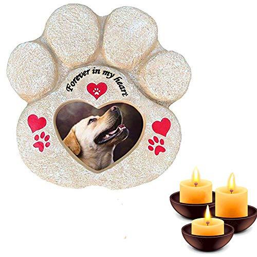 Meiyaa Gedenkstein für den Garten, Pfotenabdruck, für Haustiere, Geschenk für den Verlust von Haustieren, mit Fotorahmen für Hunde und Katzen