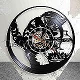 xiadayu Reloj de Pared de Vinilo 3D, Reloj de Pared de Pesca de Gato, Reloj de Pared de Acuario, Reloj de decoración de Gato Miau