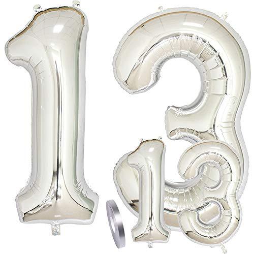 zooting Luftballons Zahl 13 Geburtstag XXL Silber - Riesen Folienballon Figuren in 2 Größen 40