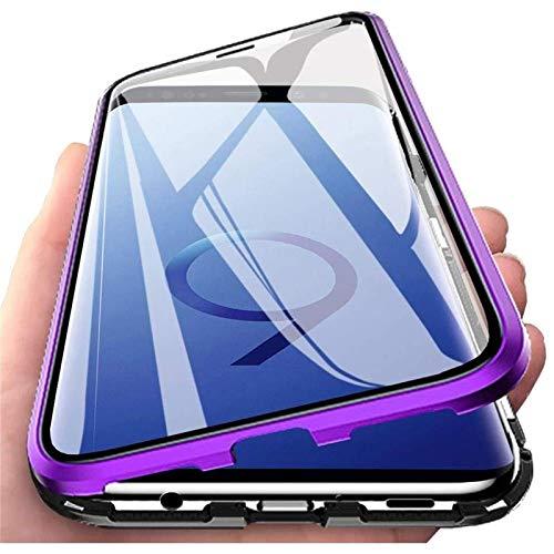 Cover per Xiaomi Redmi Note 9T 5G, Custodia Adsorbimento Magnetico Ultrasottile 360 Gradi Protezione Full Body Trasparente Vetro Temperato Alluminio Protettiva Copertura Case - Viola