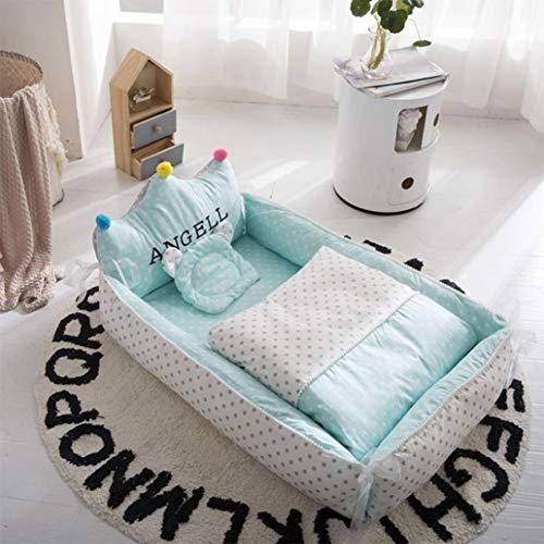 NADAEN BABY Tragbare Babyliege Neugeborene Cocoon Kuschelbett Weiches Babykissen Atmungsaktives Nest,Grün