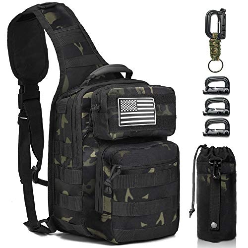Monoki Tactical Sling Backpack, Military Rover Shoulder Sling Bag Pack, Molle Assault Range Bag Day Pack
