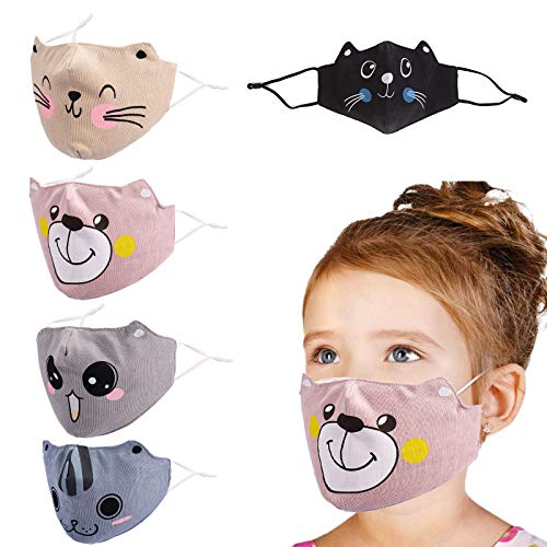YUESUO Kids Face Cloth Mask Reusable Washable, Adjustable Anime Childrens Cotton Boys Smiley Girls Baby Mouse Breathable Big Kids Youth Cat Dog Best Christmas and New Year Gift for Kids