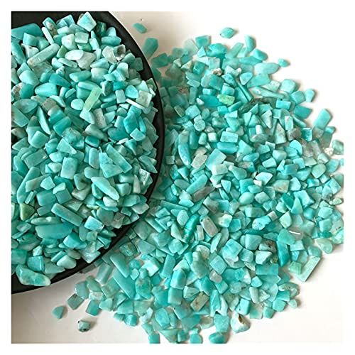 YSJJLRV Edelstein Chakra Steine 2 Größen 50g Natürliche Blaue grüne Amazonite Stein Kristall Raue Rock Mineralstein Für Aquarien Wohnkultur Material T202 (Size : 5 7mm)