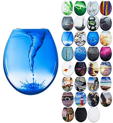 Grafner MDF WC Sitz viele schöne Motive zur Auswahl - stabile Qualität - einfache Montage WC Deckel Klobrille (Blue Whirl)