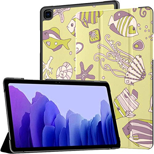 Samsung A7 Funda para Tableta Sea Pattern Small Fish Kids Doodle Funda para Samsung Galaxy Tab A7 10,4 Pulgadas Funda Protectora de liberación 2020 Funda Samsung Galaxy A7 Funda para Tableta Funda d