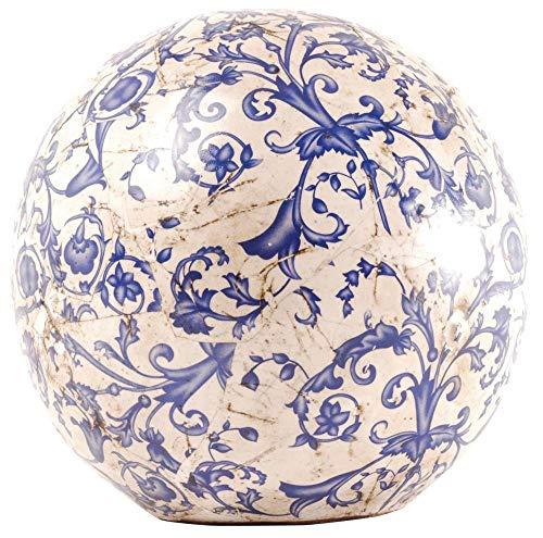 Esschert Design Dekokugel, Gartenkugel aus Keramik in blau-weiß, Größe L, Ø ca. 18 cm