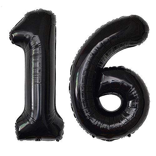 40inch Black 16 Number Balloons Giant Jumbo Number 16 Foil Mylar Balloons for 16th Birthday Party Supplies 16 Anniversary Events Decorations