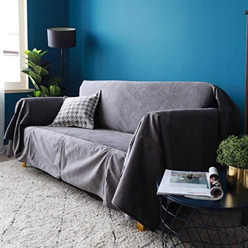 JBNJV Funda de sofá Suave, Fundas de sofá Baratas Toalla de sofá con Encaje de Moda, Funda de sofá de fácil instalación rápida Lavable a máquina, Gris Oscuro 180x200cm (70.9x78.7inch)