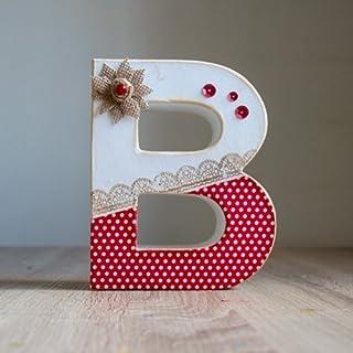 Letra decorada para mujer DÍA DE LA MADRE, con tela de topos roja y blanca