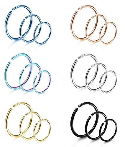 LOYALLOOK 18Pcs 20G 316L Stainless Steel Nose Ring Hoop Cartilage Hoop Septum Piercing 6mm,8mm,10mm