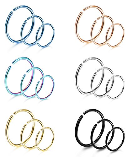 LOYALLOOK 18Pcs 20G 316L Stainless Steel Nose Ring Hoop Cartilage Hoop Septum Piercing 8mm,10mm,12mm