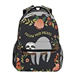 OMBRA Backpack Animal Sloth Quote Follow Your Dreams Flower School Shoulder Bag Large Waterproof Durable Bookbag Laptop Daypack for Students Kids Teens Girls Boys Elementary