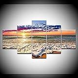 LWJPD Cuadro en Lienzo 5 Partes Lienzo Modular Arte De Pared Imagen De Impresión HD Océano Ola Playa Puesta De Sol Paisaje Marino Pintura Sala De Estar Decoración Cartel Sin Marco 60 Inch