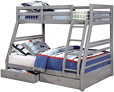 BOWERY HILL Twin Over Full Wood Bunk Bed with 2 Storage Drawers in Gray