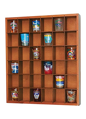 Jumbl Wood Shot Glass Wall Curio Display Case - Natural,16.5""