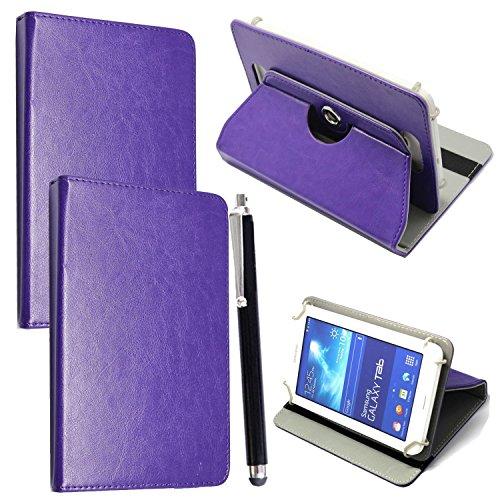 Custodia per Tab Cover con Meccanismo di Rotazione di 360° per Posizionamento Verticale ed Orizzontale del Tablet + Stylus (Universal 9.6'' - 10.1'', Plain Purple Book)