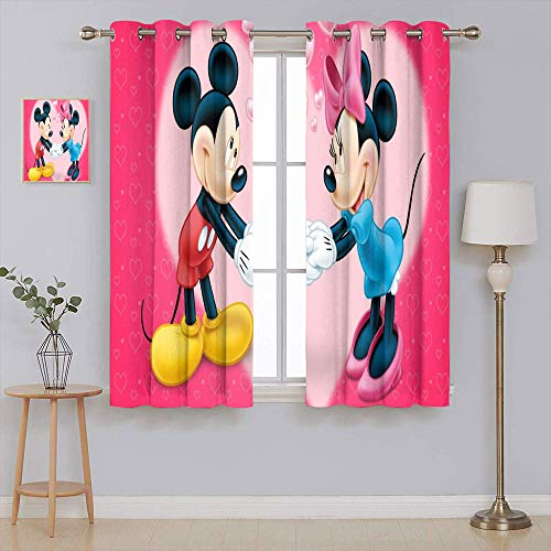 Mic-key Min-nie Mouse Blackout Curtains for Bedroom Extra long curtain Grommet Window Drapes Covering 84x84 Inch