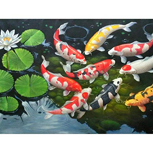 Diamond Painting Kit for Adult 5D DIY Full Round Drill Diamond Painting Sets Arts Craft for Home Decor Koi Fish and Lotus Leaves 19.7x15.7 in by Megei