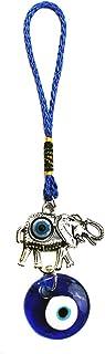 LUCKBOOSTIUM Silver Ornate Elephant Ornament Lucky Charm w/Inlayed Evil Eye & Dangling Blue Evil Eye Bead - Sign of Good F...