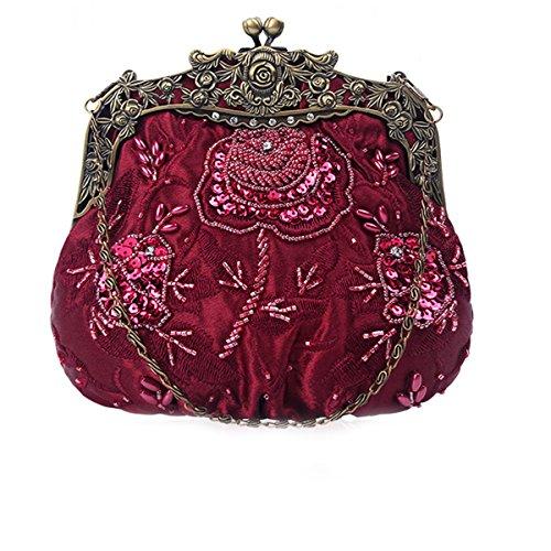 Flada damas y mujeres Vintage lentejuelas bolso hecho a mano con cuentas noche embragues baile fiesta de la boda de vino rojo