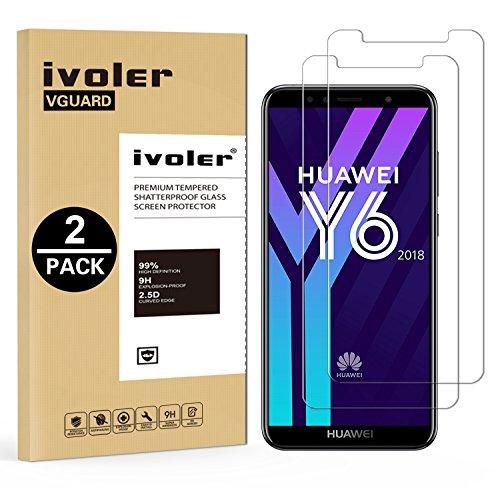 ivoler [2 Stücke] Panzerglas Schutzfolie für Huawei Honor 7A / Huawei Y6 2018 [9H Festigkeit] [Anti- Kratzer] [Bläschenfrei] [2.5D R&e Kante]