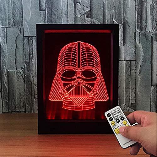 Fernbedienung 7 Farben Ändern USB LED Nachtlicht 3D Schreibtischlampe Tischdekoration Weihnachtsgeschenke Darth Vader Fotorahmen Lampe (DIOPCCE)