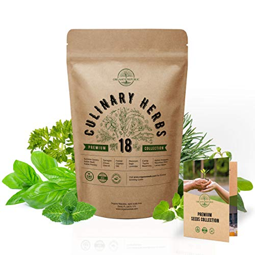 18 Culinary Herbs Seeds Variety Pack - Heirloom, NON-GMO, Herbs Seeds for Planting Outdoor and Indoor - Home Gardening. Over 5000+ seeds including Rosemary, Thyme, Oregano, Mint, Basil, Parsley & More
