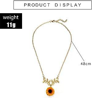 WOkismx AleacióN De Girasol Amarillo Collar Colgante con Hojas De Perla Lady Charm Chapado En Oro Cadena De ClavíCula JoyeríA 2pcs,Gold,2PCS