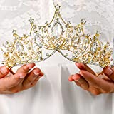 Yovic Baroque Gold Wedding Crowns and Tiaras Bride Crystal Crown Rhinestone Queen Crown Headband Prom Party Hairpieces for Women and Girls(Gold-02)