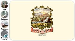SHDU Retro Great Seal of State of Montana MT Flannel Doormat Non-Slip Floor Carpet Bathroom Bedroom Mats Home Decorative 18 X 30''