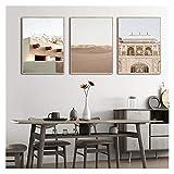 WQHLSH Marruecos Arte de la Pared Lienzo Pintura Islámica Palacio Desierto Paisaje Pósters e Impresiones Simplicity Decoración del hogar 20x28inchx3 Sin Marco
