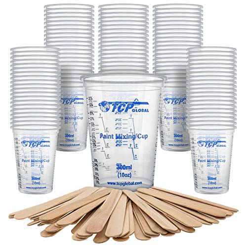 TCP Global 10 Ounce (300ml) Disposable Flexible Clear Graduated Plastic Mixing Cups - Box of 100 Cups & 50 Mixing Sticks - Use for Paint, Resin, Epoxy, Art, Kitchen - Measuring Ratios 2-1, 3-1, 4-1 ML