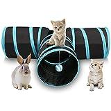 SODIAL Tunel de Gato de 3 Maneras Juego de Gato Plegable para Mascotas Tunel con Bola Que Suena, Tubo de Diversion Espacioso para Gato Perrito Gatito Azul + Negro