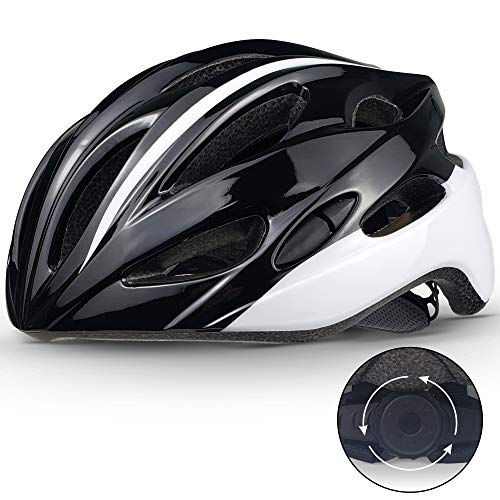SPORT24 Lightweight Bike Cycle Helmet Road Bike Cycling Safety Helmet for Men Women (Fits Head Sizes 58-61cm) Black White 2021 Model