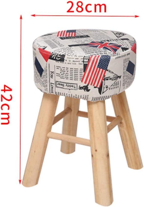 Changement de banc à chaussures Reste Bas Tabourets Poufs Ronds Chaise Assise Coussin for Salon Chambre Vintage Siège 4 Pied En Bois, 28 * 42CM (Color : C) B