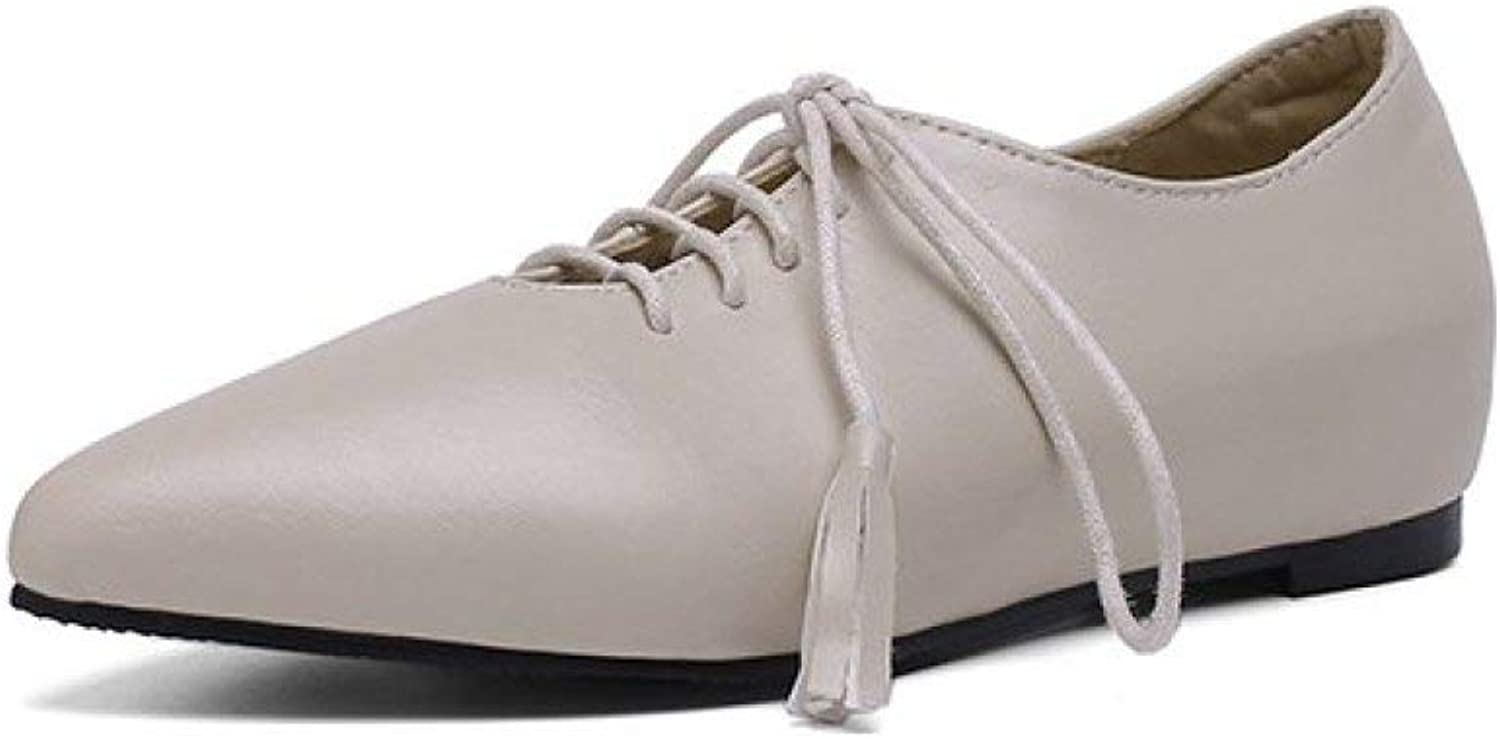 Fay Waters Women's Pointed Toe Tassel Leather Flats Lace Up Classic Comfort Oxford shoes for Ladies
