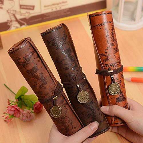 Weimay 1 Pcs PU Leather Pencil Case Travel Drawing Porta Lá