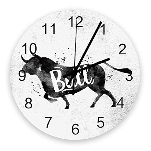 Reloj de Pared Moderno con decoración, Silueta Vintage con Estampado de Toro y Buey en Acuarela, Relojes de Pared Grandes (silenciosos) para Sala de Estar / baño / Cocina, decoración de Pared Redonda