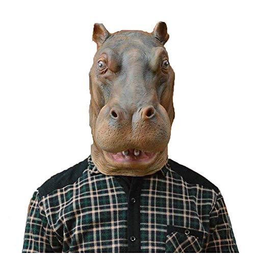 Maschera animale specifica per la festa Maschera speciale Daren Set di teste in lattice di ippopotamo Maschera di testa di ippopotamo Set di teste complete Copricapo di animali Maschera di testa di ca