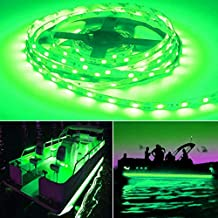 Seapon Pontoon Boat Light, Marine Led Light Strip for Duck Jon Bass Boat Sailboat Kayak Led Flex Lighting for Boat Deck Light Accent Light Courtesy Interior Lights Fishing Night,Green,12v, 5m(16.4ft)