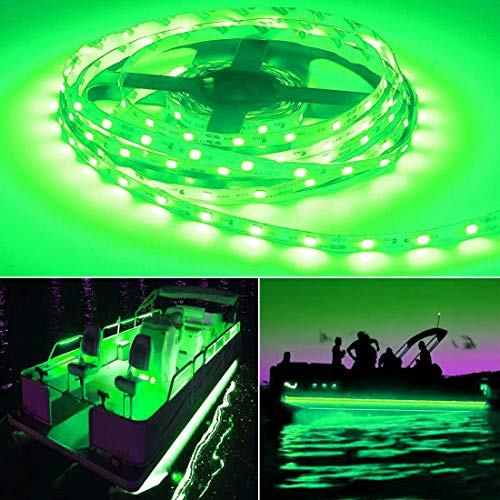 Seapon Pontoon Boat Light, Marine Led Light Strip for Duck Jon Bass Boat Sailboat Kayak Led Flex Lighting for Boat Deck Light Accent Light Courtesy Interior Lights Fishing Night,Green,12v, 5m(16.4ft)