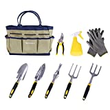 SONGMICS 9 Piece Garden Tool Set Includes Garden Tote and 6 Hand Tools...